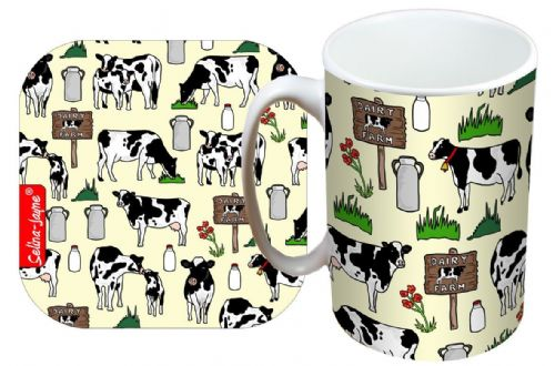 Selina-Jayne Cows Limited Edition Designer Mug and Coaster Set